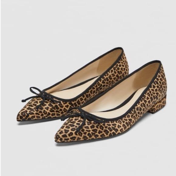 Zara Leopard Printed Leather Ballet